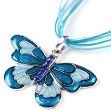 -Fashion Ribbon Color Butterfly Crystal Pendant Choker Sweater Necklace Jewelry on JD