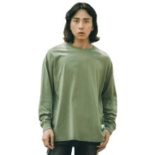 -MIJKO Men's Dress Autumn New Side Open Long Sleeve TEE All Men and Women Can Wear Pure Cotton Chao Gao Street T-shirt on JD