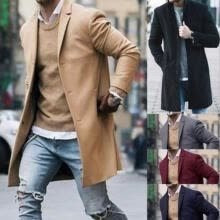 -Fashion Men's Trench Coat Warm Thicken Jacket Woolen Peacoat Long Overcoat Tops on JD