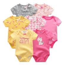 0375063f8 Más nuevo 7 UNIDS Ropa de Bebés Bebés Mamelucos Ropa de Bebés Recién Nacido  Body de Bebé Ropa de Bebé de Algodón 0-12 M Para bebés Outwear Conjuntos de  ropa