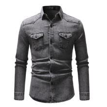 -Mens Long Sleeve Casual Jean Shirts Tops Button Down Slim Fit Denim T-shirts on JD