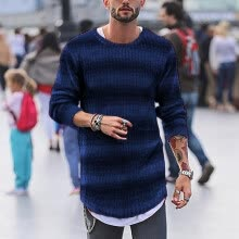 -(Toponeto) New Style For Men In Autumn And Winter Fashion Striped Blouse Pullover Sweater on JD