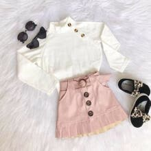 -Toddler Baby Kids Girl Winter Knit Tops Shirt+Button Mini Skirt Warm Outfits Set on JD