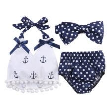 -Cute Baby Girl Summer Sleeveless Clothes Anchor Tops+Navy Dots Briefs Outfits Set  Sunsuit on JD