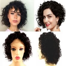 -Short Curly Bob Wave Brazilian Virgin human hair Wigs, Lace Front Wigs Gluelessfull lace wigsNatural Color for Black Women7senwid on JD