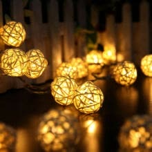 gift-bag-fillers-10/20 LED Warm White Rattan Ball LED String Christmas Wedding Party Fairy Lights on JD