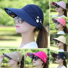 -Fashion Women Lady Ladies Summer Visor Hat Foldable Sun Beach Roll Up Wide Brim Cap on JD