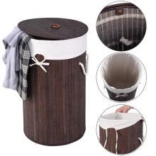 -Round Bamboo Hamper Laundry Basket Washing Cloth Storage Bag Lid Natural on JD