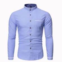 -Men 's Long Sleeve Business Shirt Male Casual Stand Collar Tops Shirt on JD