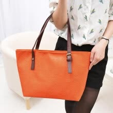 -New Fashion Women Lady Handbag PU Leather Vintage Print Candy Color Tote Shoulder Bag Orange on JD