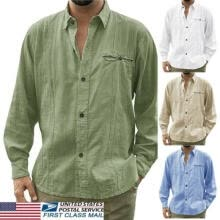 -Mens Linen Cardigan Shirt Long Sleeve Loose Shirts Tops Tee Blouse Button Cotton on JD