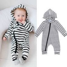 -Newborn Baby Boy Girl Hooded Zip Up Bodysuit Jumpsuit Playsuit Clothes Outfit on JD