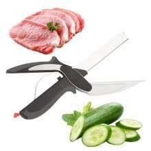 8750201-2 In 1 Multi-Function Kitchen Scissors Cutter Knife&Board Stainless Steel Kitchen Knives Meat Potato Cheese Vegetable Cut on JD