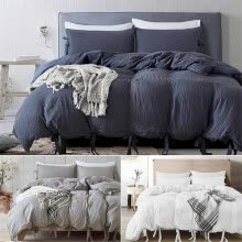 -Natural Soild Color Washed Cotton Duvet Cover Set Bedspread Fitted Sheet Twin/Queen/King Bedding Set(3 Color) on JD