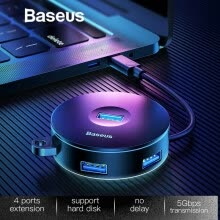 -Baseus 4 Port HUB Adapter USB 3.0 или Type-c до 1 USB3.0 + 3 USB2.0 Конвертер для iMac Аксессуары для ноутбуков OTG HUB on JD