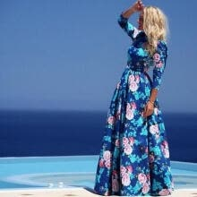 -New Women Lady Vintage Floral Chiffon Long Sleeve Maxi Party Cocktail Prom Dress on JD