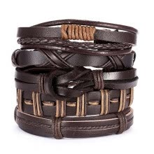 -Multilayer Leather Bracelets Set For Men Wristband Cuff Bangles on JD