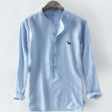 -(Toponeto) Men's Baggy Stripe Embroidery Cotton Linen Long Sleeve Button Plus Size T Shirts on JD