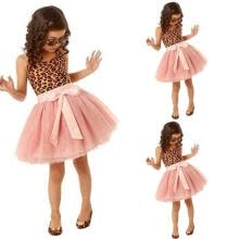 -New Baby Girls Clothes Kids Vintage Lepoard Sleeveless Tulle Skirt Kids Party Dresses on JD