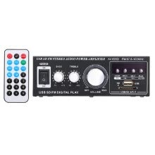 -12V / 220V Mini Stereo Audio Power Amplifier Digital Audio Receiver AMP USB SD Slot MP3 Player FM Radio with Remote Control Dual C on JD