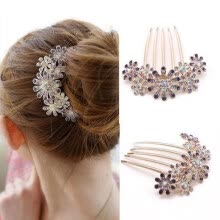 -Crystal Flower Hairpin Metal Hair Clips Comb Pin for Women Female Hairclips Hair Comb Hair Accessories Styling Tool on JD