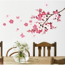 -New Beautiful Pink Sakura Wall Stickers Living Bedroom Decorations PVC Flowers Home Decals Mural Arts Poster 46*65cm on JD
