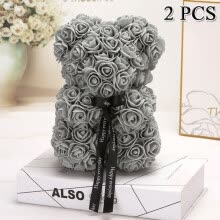 -2PCS Artificial Flowers Valentine's Gift Foam Rose BearNew Year Gifts for Women Valentine's Gift on JD