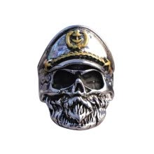 -Punk Navy Captain Skull Ring For Men Personality Biker Stainless Steel Jewelry Male Rings Skeleton Big Size Rings on JD