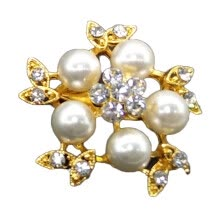 -Women Flower Imitation Pearl Diamond Flower Brooch Silver Gold Wedding Bridal Brooch Pins on JD