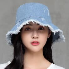 -Womens Denim Bucket Hat Male Korean Style Casual Cowboy Fishing Caps Fashionable Spring Summer Cool Jeans Tassel Sun Hats on JD