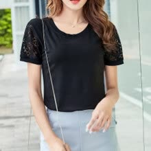 -GE_Ladies'Short-Sleeved T-Shirt With Pure Lace Round Neck Free Shipping on JD