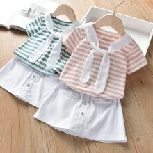 -Summer Baby Girl Short Sleeve Cotton Striped Print T-shirt Blouse Skirts Casual Outfits Set on JD