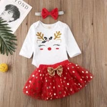 -US Toddler Infant Baby Girl Xmas Tops Romper Bodysuit Tutu Skirt Outfits Clothes on JD