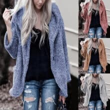 -Women Long Sleeve Outerwear Autumn Winter Warm Ladies Fleece Fuzzy Coat Jacket on JD
