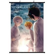 -Ailin Online The Promised Neverland Wall Scroll Poster, Japanese Anime No Fading Fabric Hanging Painting for Home Decor on JD