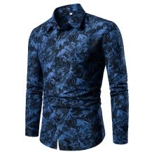 -Tailored Spring And Summer Men's Casual Pattern Stand Collar Button Long Sleeve Shirt on JD