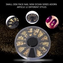 -1box Hot Gold Ocean Series Metal Deco Charms Nail Art Decoration DIY on JD