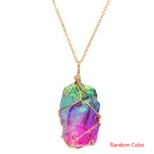 -Women Rainbow Natural Stone Pendant Necklace Wedding Party Gift Crystal Jewelry Sweater Chain Random Color on JD