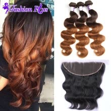 -Ombre Brazilian Virgin Hair with Closure Ombre Human Hair Bundles Brazilian Hair Body Wave with Closure on JD
