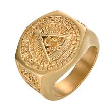 engagement-rings-Yoursafs Masonic Ring Stainless Steel Gold Plated Vintage Freemason Symbol Masonic Rings Band For Men on JD