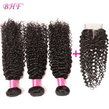 -BHF Hair 7A Grade Virgin Unprocessed Human Hair Afro Kinky Curly Brazilian Hair Weave Bundles With Lace Closure on JD