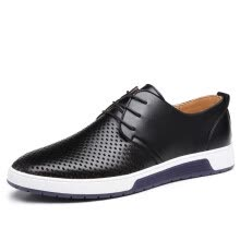 1d27cc2e22eb New Men Casual Shoes Leather Breathable Holes Luxury Brand Flat Shoes for  Men