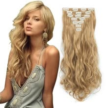 -7pcs/set Clip in Hair Extensions 20inch Long Wavy Heat Resistant Kanekalon Synthetic Hairpiece Gifts for Girl Lady Women on JD