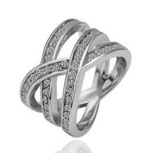 -Yoursfs® 18K White Gold Plated Simulated Diamond Nest Ring Use Austrian Crystal Wedding Ring on JD