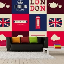 -Custom 3D large murals British flag London red Telephone Box fashion Background wallpaper living room sofa TV bedroom on JD