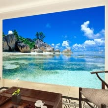 -Custom 3D Mural Wallpaper Non-woven Bedroom Livig Room TV Sofa Backdrop Wall paper Ocean Sea Beach 3D Photo Wallpaper Home Decor on JD