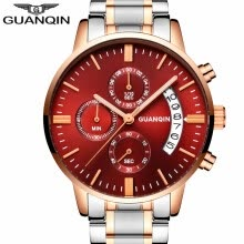 -GUANQIN Watch men's business style waterproof quartz watch fashion steel watch on JD