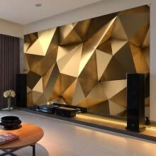 Custom Photo Wallpaper Stereo Abstract E Golden Geometry Mural Modern Art Creative Living Room Hotel Study Wall Paper 3 D