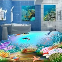 -Free Shipping ocean 3D floor stickers thickened waterproof decoration living room  bedroom flooring wallpaper mural 250cmx200cm on JD