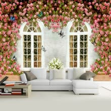 -High Quality Custom Mural Wallpaper Creative Flowers Window Wall Large Mural Non-woven Wall Sticker Mural Wall Paper For Walls on JD